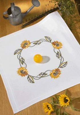 Permin Kits279525 ~ Yellow Flower Tablecloth ~ Prefinished