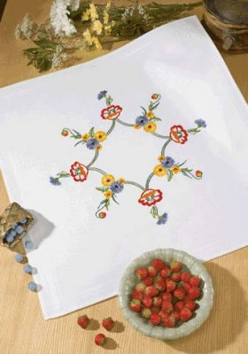 Permin Kits279526 ~ Flower Tablecloth ~ Prefinished