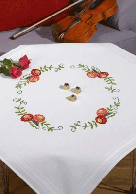 Permin Kits279531 ~ Red/Pink Flower Tablecloth ~ Prefinished