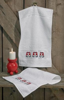 Permin Kits286213 ~ Heart Elfs Hand Towels ~ 10 count Aida