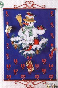 Permin Kits341212 ~ Advent Calendar - Snowman ~ 8 count Aida