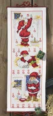 Permin Kits341233 ~ Three Santas Advent calendar ~ 11 count Aida