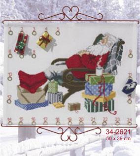 Permin Kits342621 ~ Santa Snooze ~ 11 count Aida