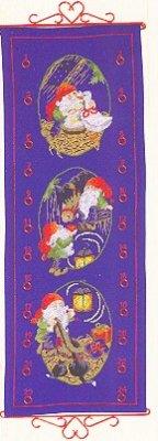 Permin Kits343215 ~ Advent Calendar - Elves With Animals ~ 14 count Aida