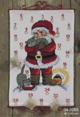 Permin Kits343265 ~ Santa With Cats ~ 8 count Aida
