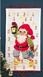 Permin Kits344215 ~ Advent Calendar - Santa With Lantern ~ 6 count Aida