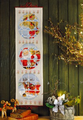 Permin Kits344219 ~ Santa Claus Sled Advent Calendar ~ 14 count Aida