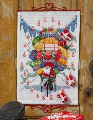 Permin Kits344619 ~ Santa Claus On Bike Advent Calendar ~ 8 count Aida
