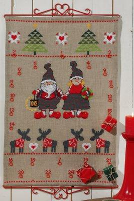 Permin Kits345225 ~ Mom/Dad Advent Calendar ~ 18 count Linen