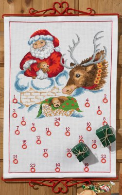 Permin Kits345226 ~ Santa In Chimney Advent Calendar ~ 14 count Aida