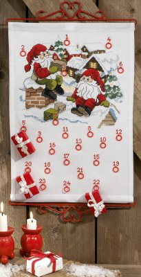 Permin Kits345640 ~ Elfs On Roof Advent Calendar ~ 14 count Aida