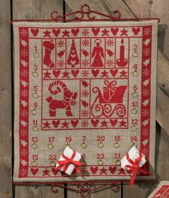 Permin Kits346224 ~ Christmas Spirit Advent Calendar ~ 18 count Linen