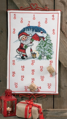 Permin Kits346226 ~ Elf & Rabbit Advent Calendar ~ 14 count Aida