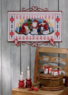 Permin Kits346609 ~ Elfs Gifts Advent Calendar ~ 14 count Aida