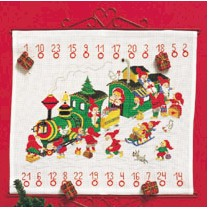 Permin Kits348225 ~  Advent Calendar - Santa's Train ~ 14 count Aida