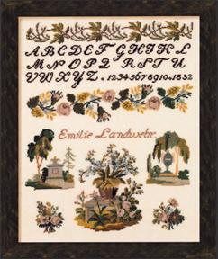 Permin Kits390398 ~ Sampler Emilie Landwehr ~ 40 count Linen