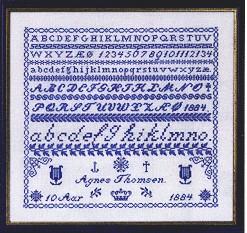 Permin Kits392128 ~ Sampler Blue ~ 26 count Linen
