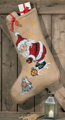 Permin Kits416206 ~ Elf & Rabbit Stocking ~ 10 count Jute