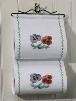 Permin Kits419370 ~ Flower Toilet Paper Holder ~ 11 count Aida