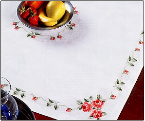 Permin Kits440113 ~ Pink Roses Tablecloth ~ 14 count Damask