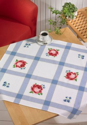 Permin Kits443109 ~ Red Roses With Blue Flowers ~ Aida