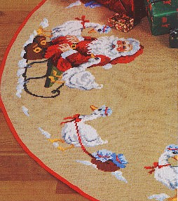 Permin Kits450290 ~ Tree Skirt - Santa And Geese ~ 10 count Jute