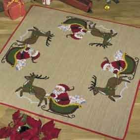 Permin Kits451215 ~ Santa In Sleigh Tree Skirt ~ 10 count Jute