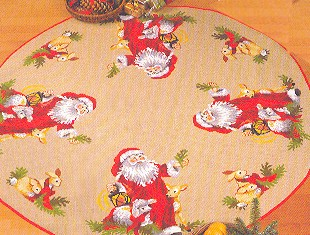 Permin Kits453255 ~ Santa With Animals Tree Skirt ~ 10 count Jute