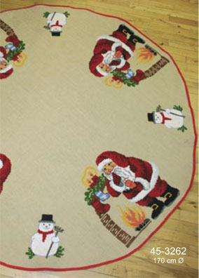 Permin Kits453262 ~ Santa Hearth Round Tree Skirt ~ 10 count Jute