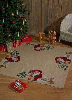 Permin Kits454250 ~ Christmas Owl Tree Skirt ~ 10 count Jute