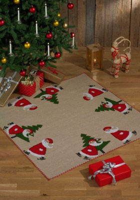 Permin Kits454252 ~ Santa Claus On Skates Tree Skirt ~ 10 count Jute