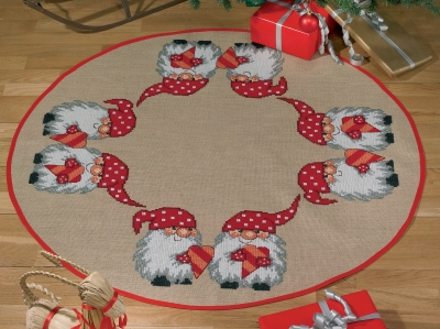 Permin Kits455577 ~ Elf with Heart Tree Skirt ~ 10 count Jute
