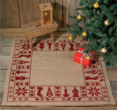 Permin Kits456224 ~ Christmas Tree Skirt ~ 10 count Jute