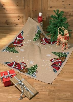 Permin Kits456298 ~ Asleep Elf Tree Skirt ~ 10 count Jute