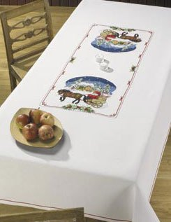 Permin Kits580245 ~ Horse & Carriage Tablecloth ~ 14 count Aida