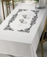 Permin Kits582870 ~ Flowers Outline Tablecloth ~ 18 count Cotton/Linen