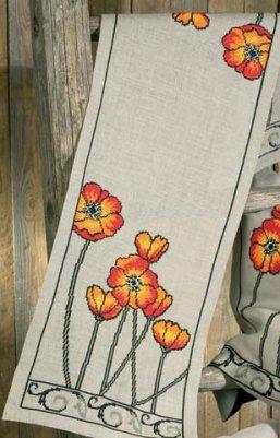 Permin Kits630103 ~ Poppies Tablerunner ~ 18 count Linen