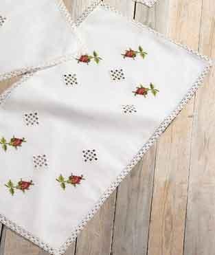 Permin Kits630635 ~ Hardanger With Roses Tablerunner