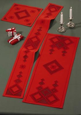 Permin Kits633655 ~ Hardanger Red Table Runner (right) ~ 22 count Hardanger