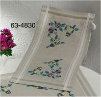 Permin Kits 634830 Blue Tit Table Runner ~  Printed Prefinished Linen