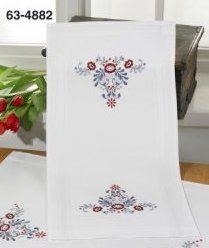 Permin Kits 634882 Classic Flowers Table Runner ~  Printed Prefinished Cotton