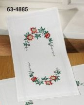 Permin Kits 634885 Christmas Roses Table Runner ~  Printed Prefinished Cotton
