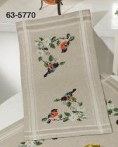 Permin Kits 635770 Bullfinch Table Runner ~ 18 Count Linen