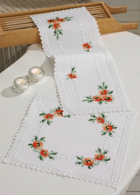 Permin Kits635874 ~ Hardanger Poppies Table Runner (top) ~ 22 count Hardanger
