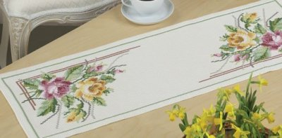 Permin Kits636725 ~ Flowers Tablerunner ~ 8 count Aida