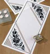 Permin Kits637845 ~ White With Black Floral Tablerunner ~ 22 count Hardanger