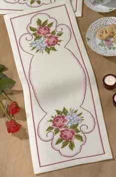 Permin Kits639666 ~ Roses Tablerunner ~ 11 count Aida