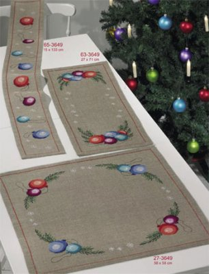 Permin Kits653649 ~ Christmas Ball Tablerunner (top left) ~ 18 count Linen
