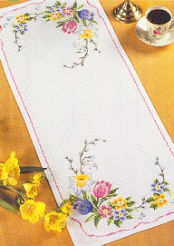 Permin Kits680188 ~ Spring Flower Tablerunner ~ 14 count Aida