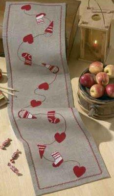 Permin Kits680246 ~ Christmas Tablerunner ~ 18 count Linen